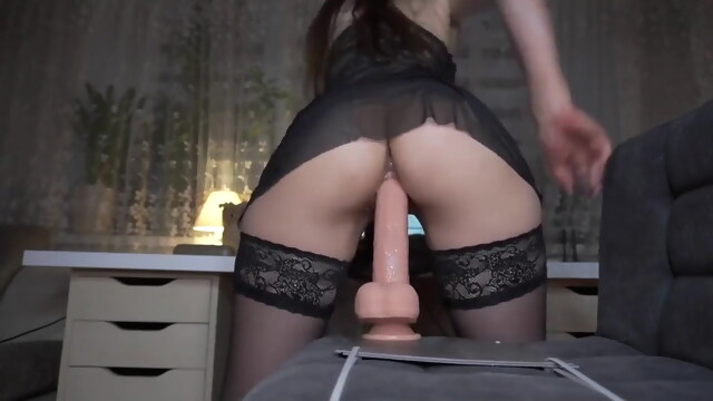 Girl in stockings.. beeg anal free brunette